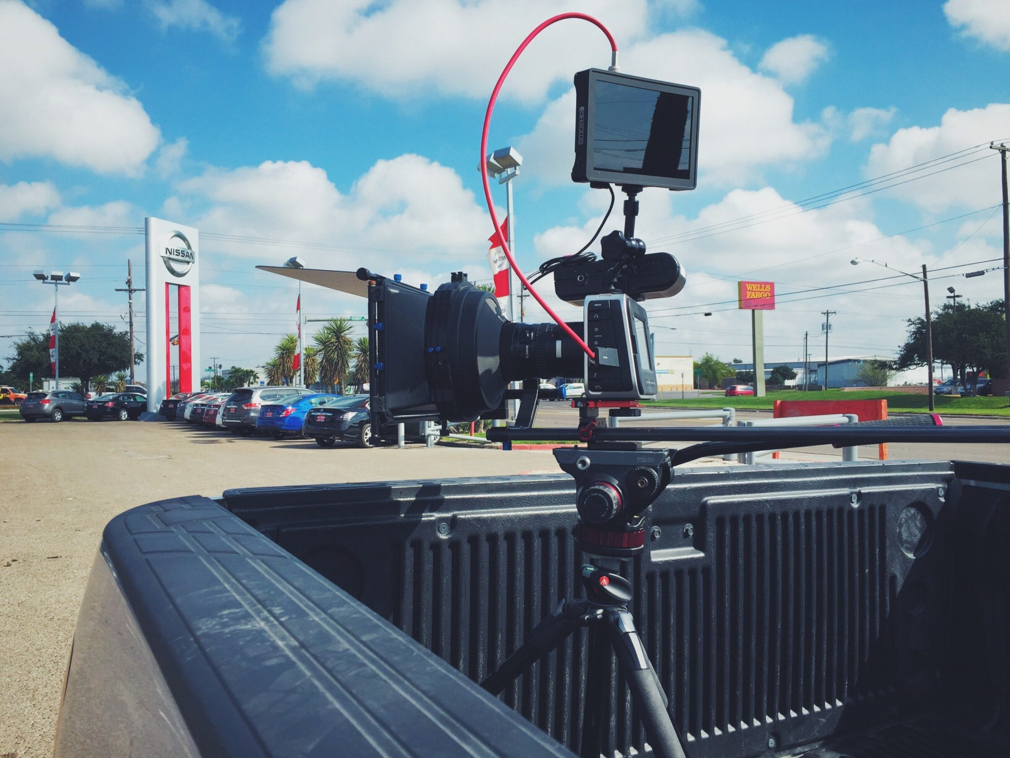 Blackmagic Cinema Camera in the bed of the picture car.