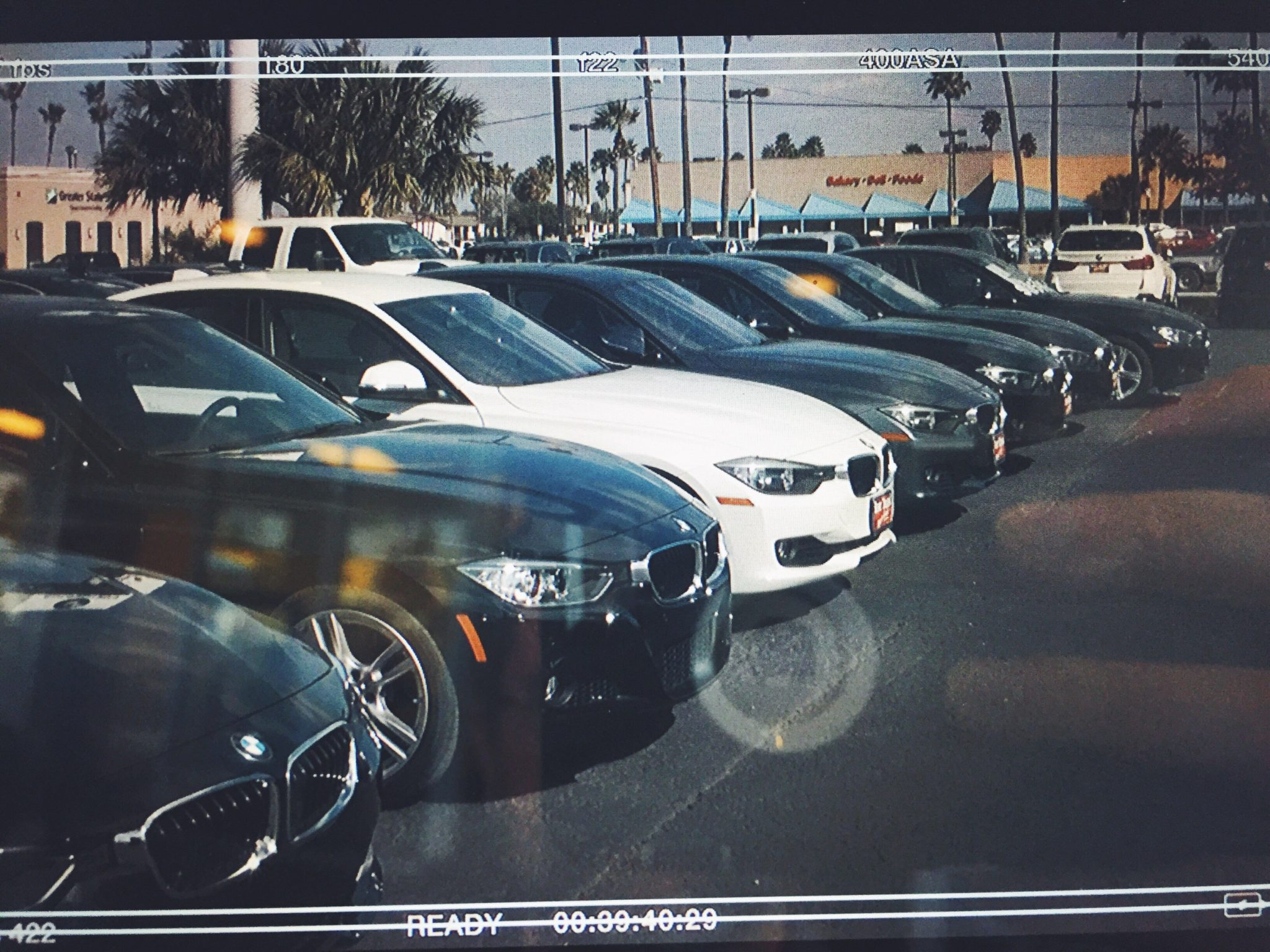 Later that day I was shooting footage at their BMW dealership. This is the view through the SmallHD AC7. Note the reflection of my iPhone 6 in its Otterbox.