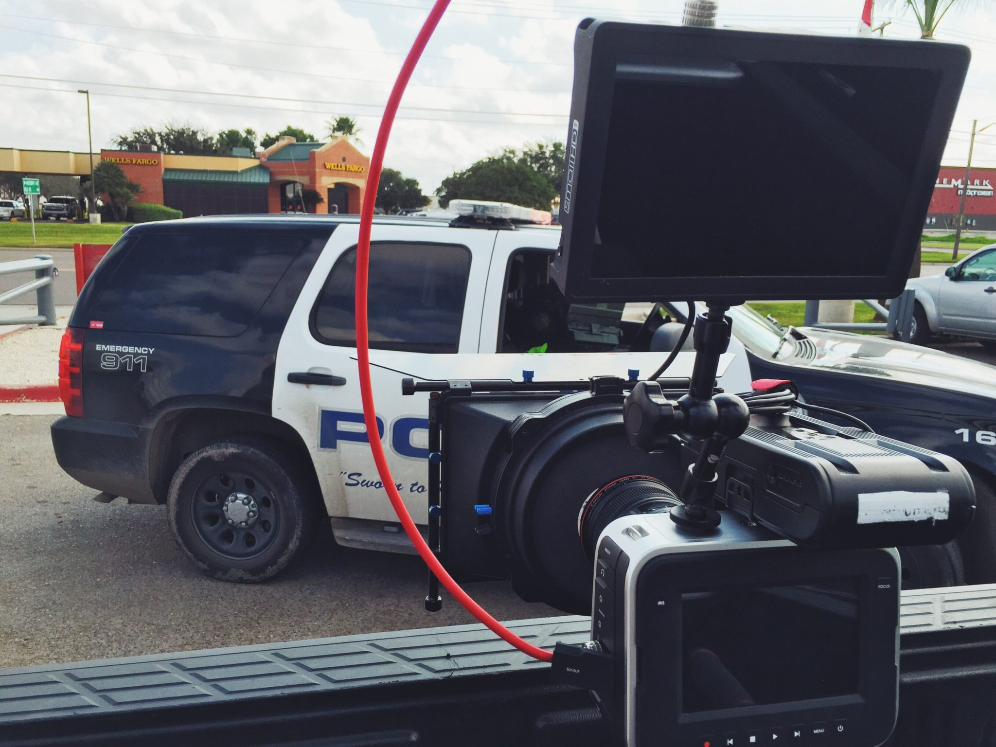 During the shoot, Pharr PD pulled over someone who parked behind the picture car and blocked us in, holding up production for a few minutes. But we were waiting for a hero car to be washed so, it worked out.